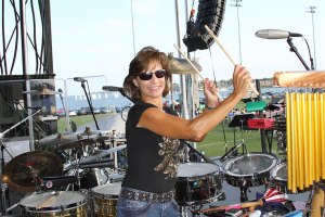 Beth Gottlieb playing the drums