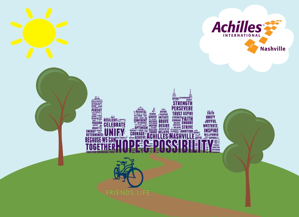 Graphic Combining Friends Life Logo and Achilles logos. The background is the Hope and Possibility skyline logo in purple, grassy area and trees and a sidewalk in front of the skyline with the Friends Life tandem bike logo and their name, Achilles logo in the cloud upper right, sun in upper left