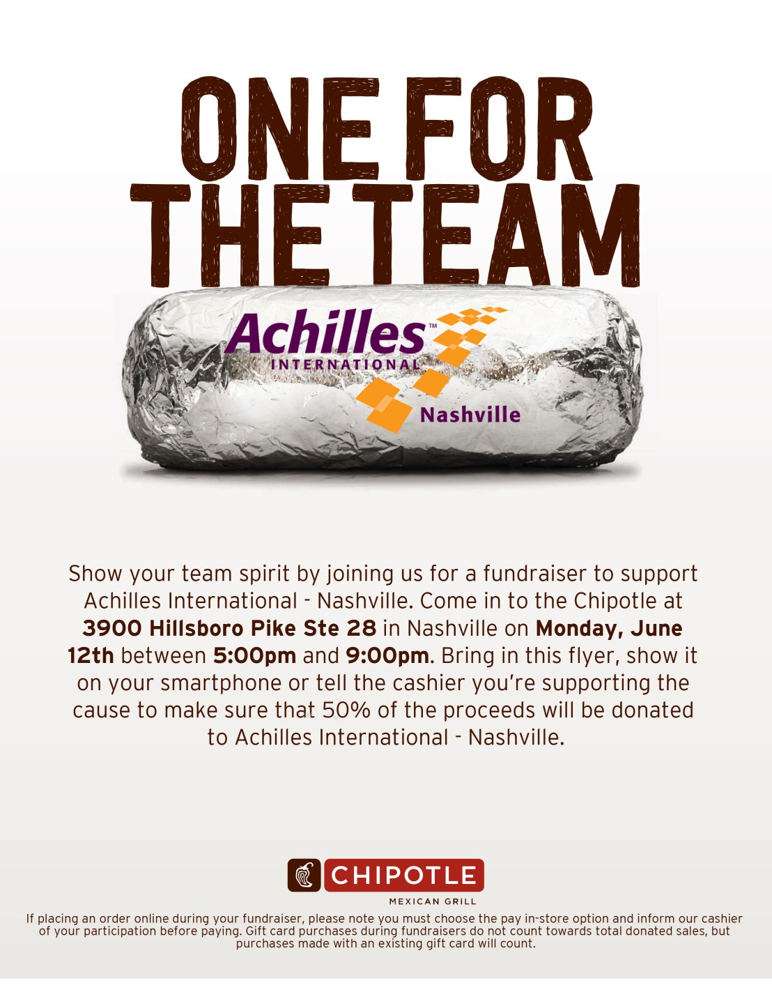JPG file from Chipotle that has the address for the fundraiser, 3900 Hillsboro Pike, Ste 28, show this between 5 and 9 p.m. for 50% to go to Achilles.
